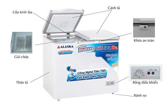 Tủ đông mát Alaska BCD-5568CI dung tích 550 lít