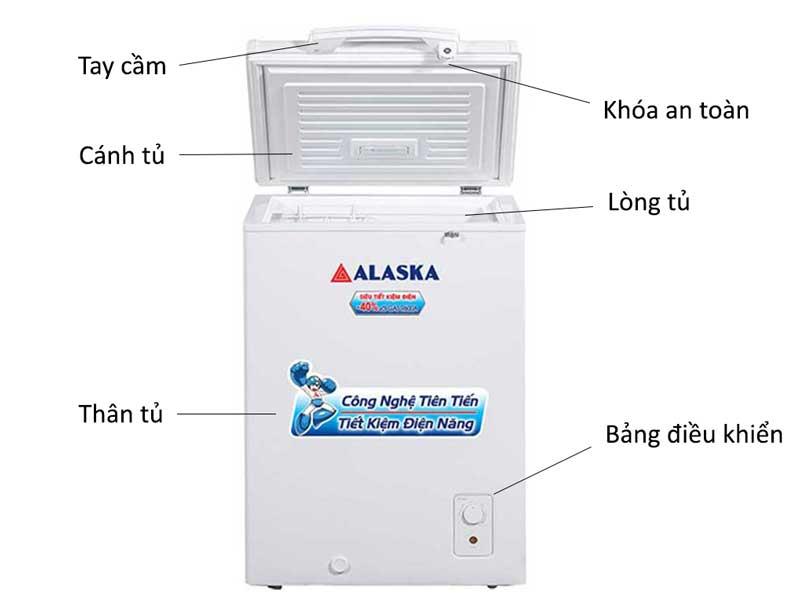 Tủ đông Alaska BD-150 có thiết kế 1 ngăn đông và 1 cánh mở